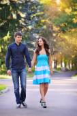 Couple in love strolling together in a beautiful park  — Stock Photo