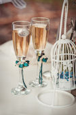 Two wedding glasses with champagne — Stock Photo