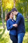 Romantic Teenage Couple By Tree In Autumn Park — Stock Photo