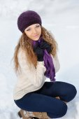 A beauty girl on the winter background  — Stock Photo