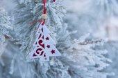 Christmas retro tree toy over defocused background  — Stockfoto