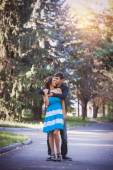 Hugging young couple portrait  — Stock Photo