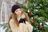 Portrait of a beautiful blonde in the winter  — Stock Photo
