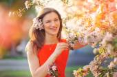 Blissful woman enjoying freedom and life in park on spring.  — Stock Photo