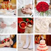 Collage of wedding red — Stock Photo