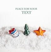 Branches de sapin et les cartons dans un sac de Noël — Photo