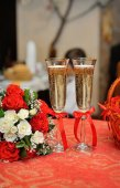 Wedding red glasses  — Stock Photo