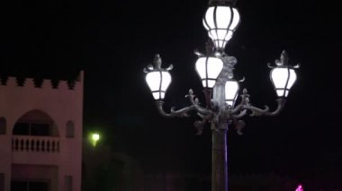View of the city at night with lighted lanterns — Stock Video