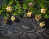 Holiday New Year's and Christmas background from branches fir de — Stockfoto