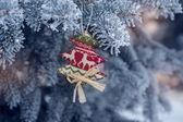 Nadel-zweigen in weiß winter eingefroren — Stockfoto