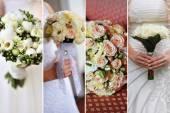 Collage di nove foto sposa con bouquet — Foto Stock