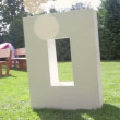 Large letters LOVE on the grass on wedding — Stock Video #56104803