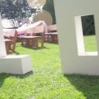 Large letters LOVE on the grass on wedding — Stock Video #56104849