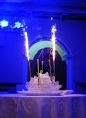 Firework on the top of the wedding cake  — Stock Photo