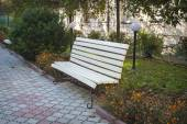 White bench in the park — Stock Photo