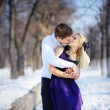 Loving couple in winter, kiss a guy and a girl — Stock Photo #57324621