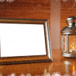 Christmas frame with candle and candlestick — Stock Photo #57492847