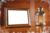 Christmas frame with candle and candlestick — Stok fotoğraf