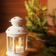 Christmas candlestick on a wooden table — Stock fotografie #57775425