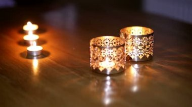 Beautiful metallic candlesticks on the table — Vidéo