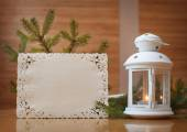 Christmas invitation with place for your text, frame of trees — Stock Photo