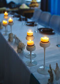 Decor of candles on the table at the festival — Foto de Stock