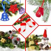 Christmas collage of toys handmade from felt, fleece — Stock Photo