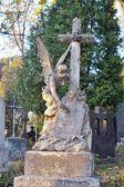 Old statue in Lychakiv Cemetery in Lviv, Ukraine, October 2014 — Foto de Stock