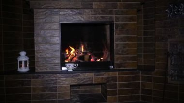 Roaring flames in a modern fireplace with shiny slate framing — 图库视频影像