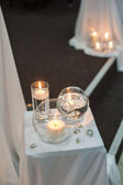 Decor of the many candles in water — Stockfoto
