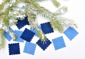 Christmas Decor many cards for your text blue — Stockfoto