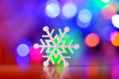 Winter Holiday Snow flake Background, Bokeh — Stock Photo