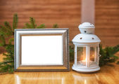 Christmas frame with place for your text and candlestick — Stock Photo