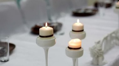 Beautiful lighted candles on  table — Stock Video