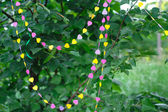 Decor garland of hearts on green leaves — Stock Photo