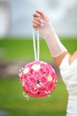Bridal bouquet round shape of pink roses — Stock Photo