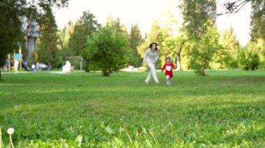 Happy family in the park in spring season — Stock Video