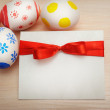Card colored easter eggs with space for your text — Stock Photo #63929205