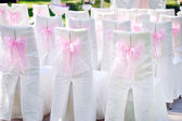 Decorated with pink bows on the chairs wedding ceremony — Stock Photo