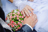 Hands of the bride and groom with wedding rings on a background  — Stock Photo
