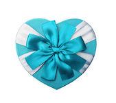 Gift heart shaped blue, isolated on white background, Valentine' — Stock Photo