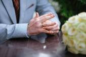 Bride with a wedding ring on his hand — Stock Photo