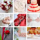 Wedding collage of photos red style — Stock Photo
