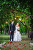 Love the bride and groom at a wedding arch of light bulbs — Foto Stock