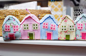 Beautiful colorful houses, sewn from fabric — Stock Photo
