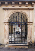 Old architecture of the city with metal gates — Stock Photo