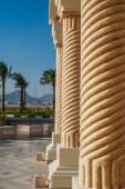Columns in the territory of the Egyptian hotel — Stock Photo
