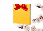 Festive gold box with a red bow on a white background — Stock Photo