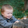 Little boy in a park near the old stump in autumn — Stock Photo #70734147