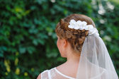 Bride with a white veil on a background of green leaves in the s — Stock Photo